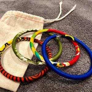 Jewelry - NEW multicolor African cloth bracelet set